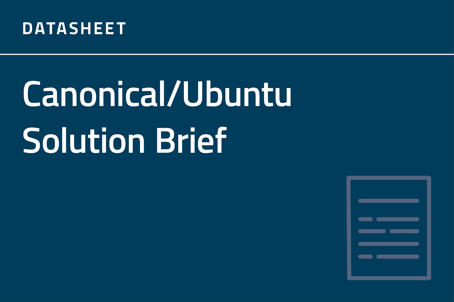 Canonical Solution Brief