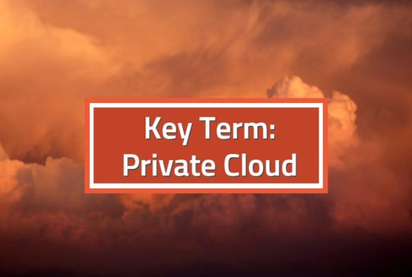 Key Term Private Cloud with red clouds in background, darker more private